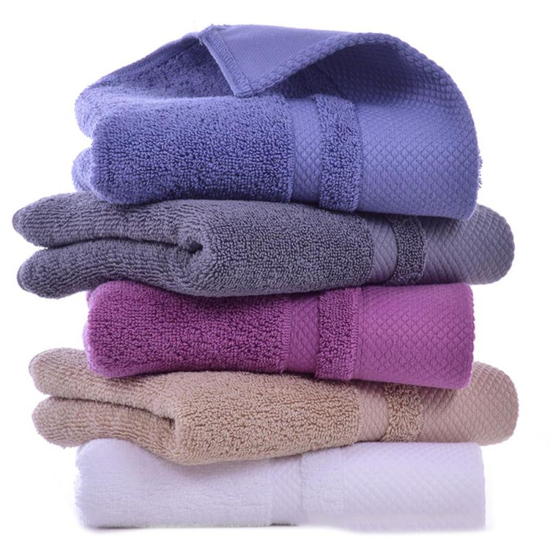 Thick Towel Bathroom Hand Face Towel Solid Color Cotton Soft