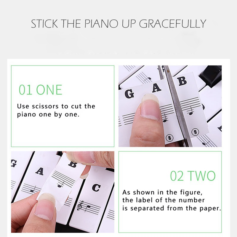 Piano-Stickers-For-37-49-54-61-88-Key-Keyboards-Transparent-And-Removable-New thumbnail 15