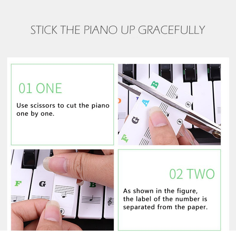 Piano-Stickers-For-37-49-54-61-88-Key-Keyboards-Transparent-And-Removable-New thumbnail 20