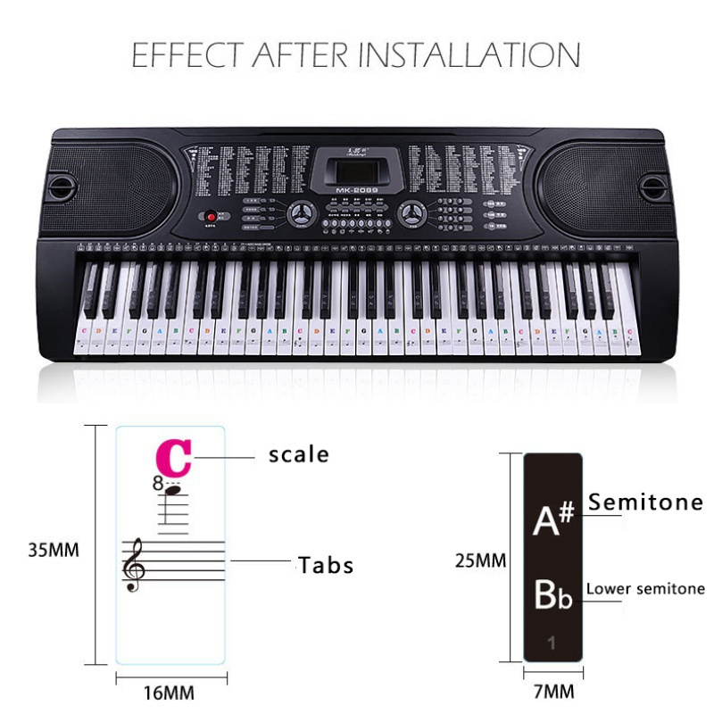 Piano-Stickers-For-37-49-54-61-88-Key-Keyboards-Transparent-And-Removable-New thumbnail 22